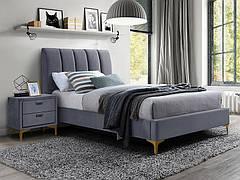 Ліжко односпальне MIRAGE VELVET 90X200 колір сірий/золото TAP. 142