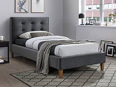 Ліжко односпальне TEXAS VELVET 90X200 колір сірий/дуб BLUVEL 14