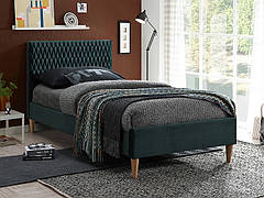 Ліжко односпальне AZURRO VELVET 90X200 колір зелений/дуб BLUVEL 78