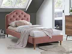 Ліжко односпальне CHLOE VELVET 90X200 антична троянда/дуб BLUVEL 52