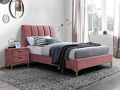Ліжко односпальне MIRAGE VELVET 90X200 колір антична троянда/золото TAP. 185