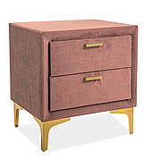 Тумбочка Monako Velvet Античний Рожевий / Золотий