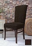 Комплект Чохли на стільці універсальні натяжні без спідниці 6 штук Жатка Бежевого кольору, фото 5