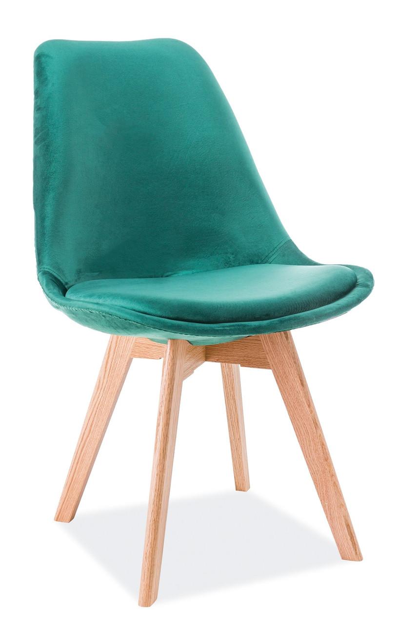 Стілець Dior Velvet Зелений / Дуб