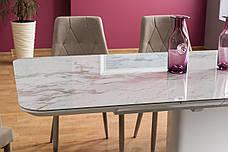 Стіл обідній Cartier ceramic 160 (210) x90 Ефект Мармур / Білий, фото 2