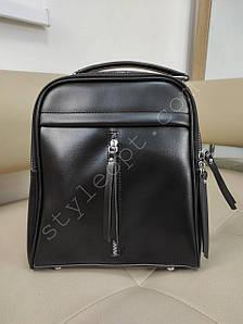 Женский черный рюкзак с вертикальной молнией 27*22*8 см