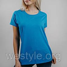 Футболка жіноча однотонна тканина - колір ультрамарин
