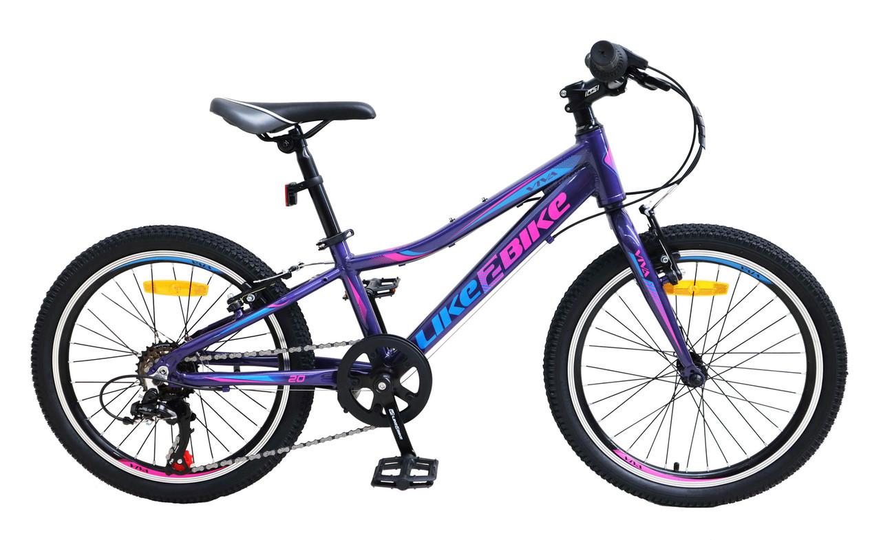 Алюминиевый спортивный велосипед подростковый двухколесный LIKE2BIKE A212004 Viva колеса 20д фиолетовый