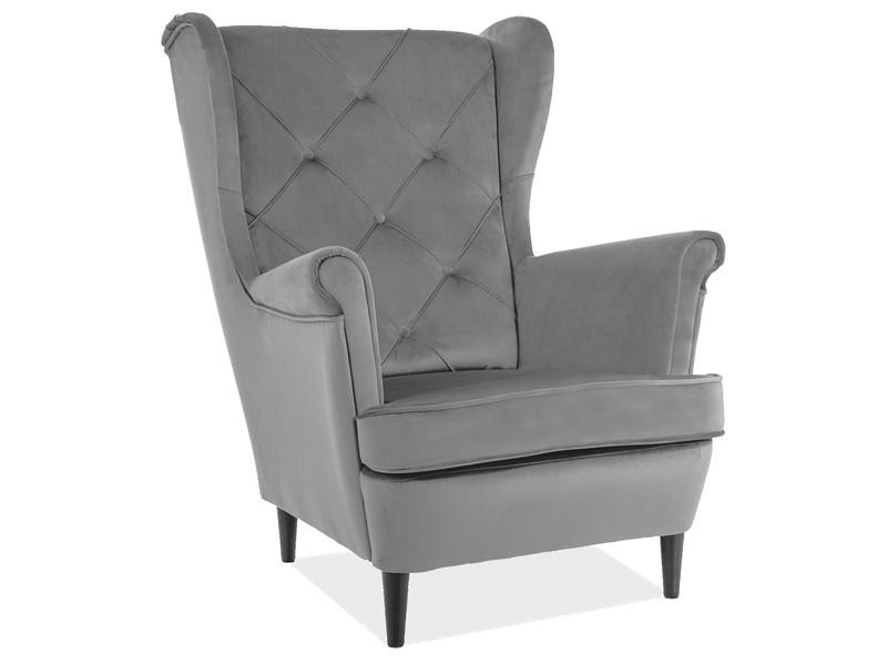 Крісло LADY MATT VELVET 85 сірий / венге