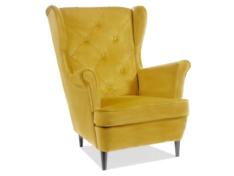 Крісло LADY MATT VELVET 48 жовтий/ венге