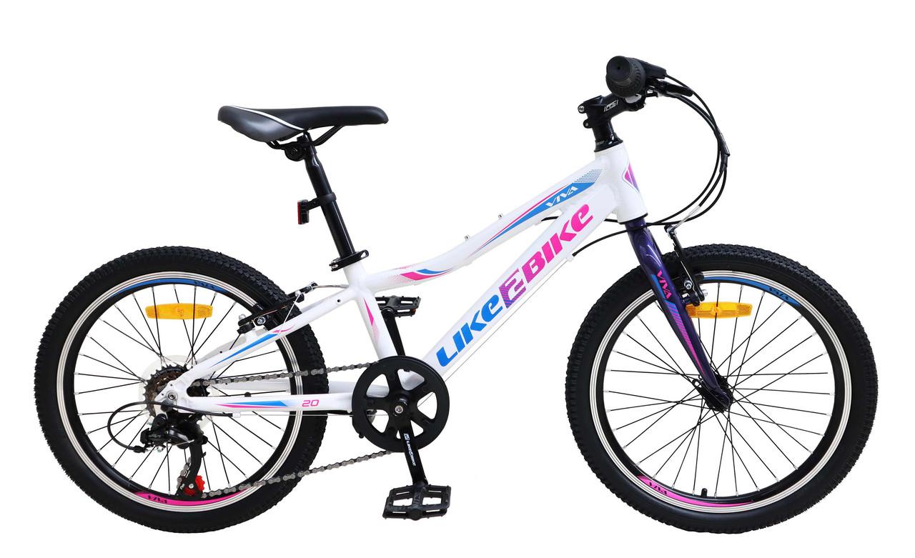 Алюмінієвий спортивний підлітковий велосипед двоколісний LIKE2BIKE A212006 Viva колеса 20д білий
