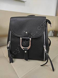 Стильный черный рюкзак с молниями из кожзама 26*21*11 см