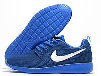 Кроссовки мужские Nike Roshe Run синие, белый значок (найк роше ран)