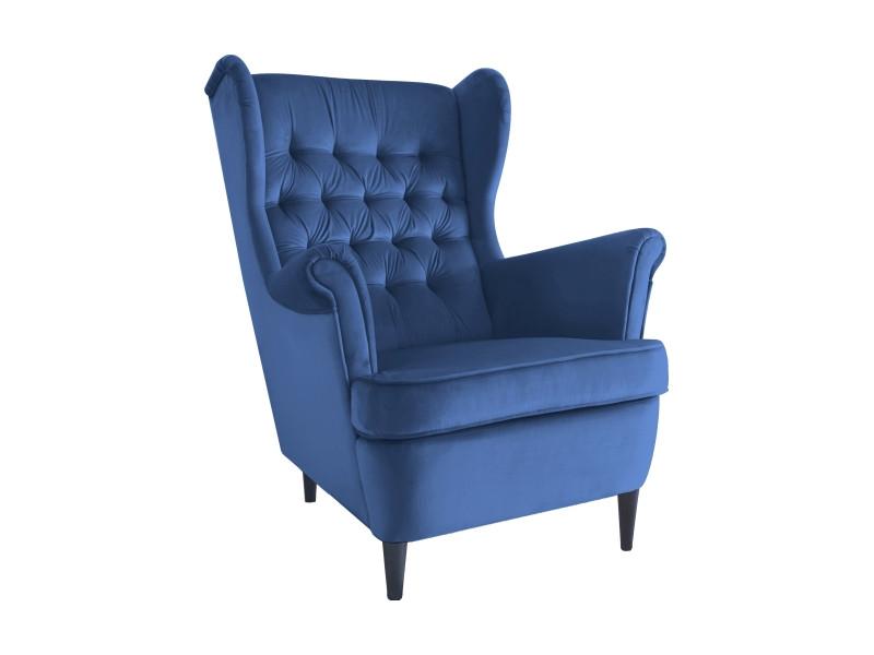 Крісло HARRY VELVET синій BLUVEL 86 / венге
