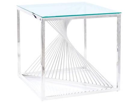 Журнальний столик FLAME B прозорий/срібний 55X55, фото 2