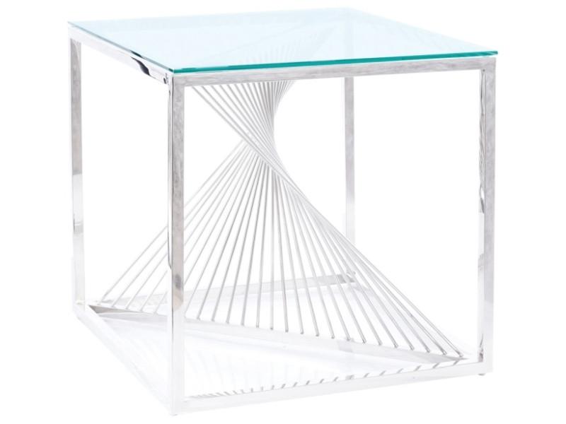 Журнальний столик FLAME B прозорий/срібний 55X55