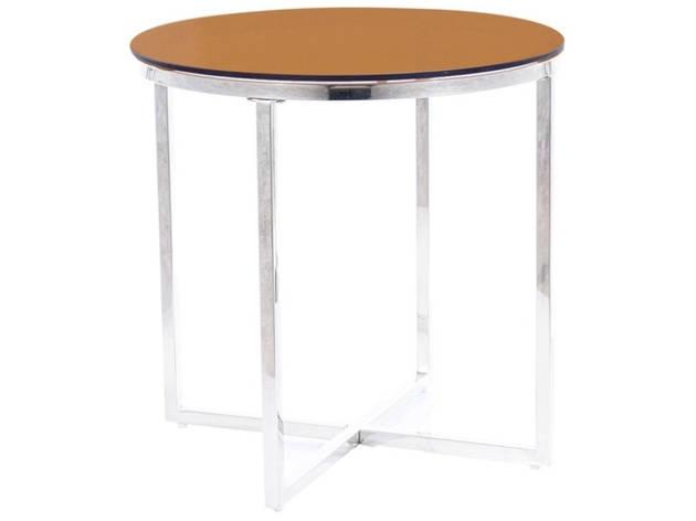 Журнальний столик CRYSTAL B димчасте скло бурштинове/срібний Діаметр 55, фото 2