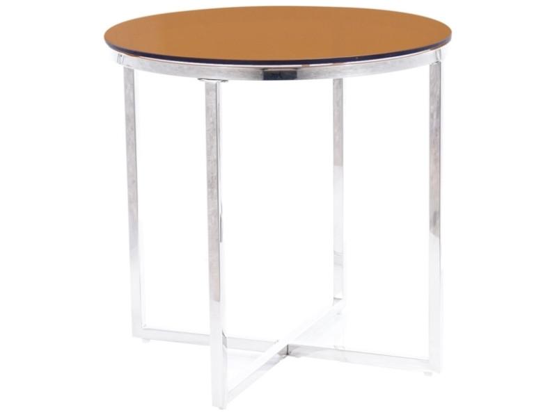 Журнальний столик CRYSTAL B димчасте скло бурштинове/срібний Діаметр 55