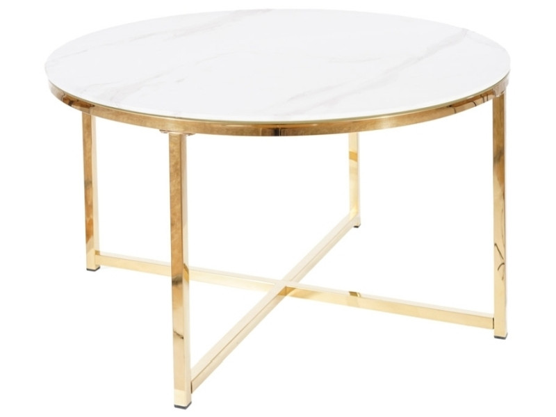 Журнальний столик SALMA білий ефект мармур, золото, Діаметр 80