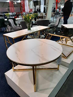 Журнальний столик SALMA білий ефект мармур, золото, Діаметр 80, фото 2