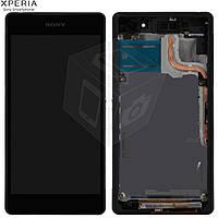 Дисплейный модуль (дисплей + сенсор) для Sony Xperia Z2 D6502/D6503, с рамкой, черный, оригинал