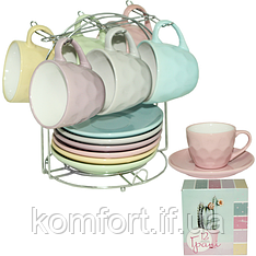 """Сервиз чайный на стойке 12 предметов """"Грани"""" 1464-7"""