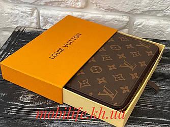 Стильний гаманець Louis Vuitton на блискавці коричневий Unisex| Клатч Трендовий Луї Віттон/Висока Якість/