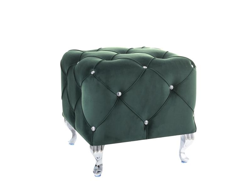 Пуф HESTIA K VELVET зелений BLUVEL 78/ срібний