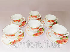 """Чайный набор чашек с блюдцами 12 пр. """"Роза"""" стеклокерамика 30055-002"""