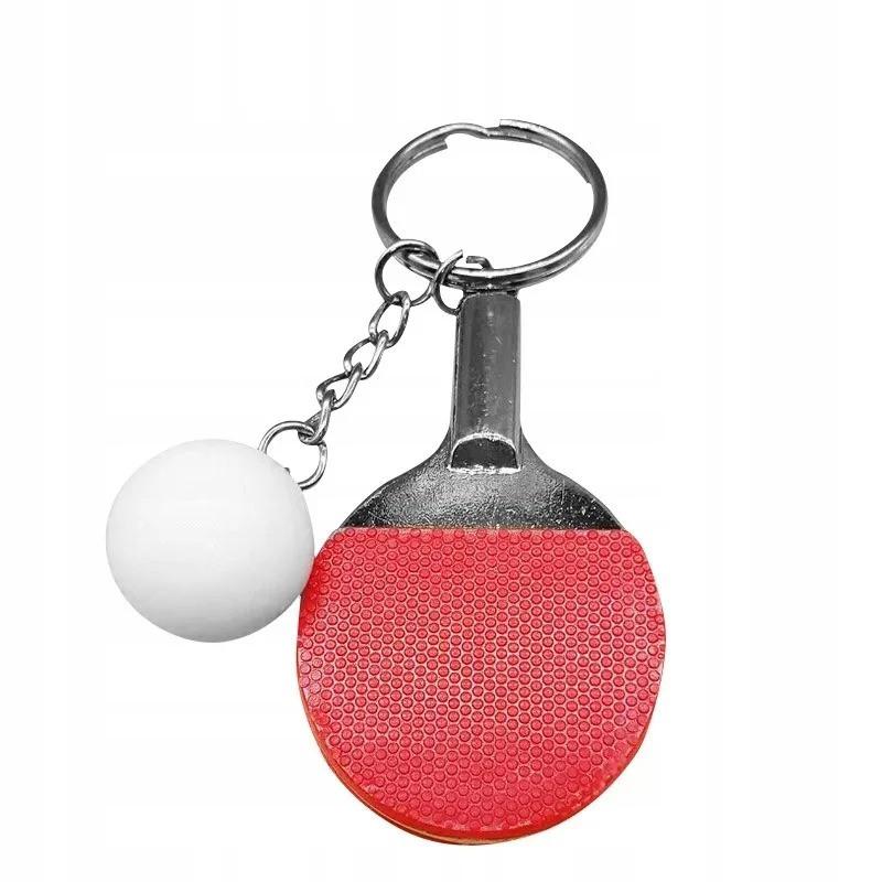 Брелок для ключів подарунковий Ракетки і м'ячик пінг понг набір 12 шт