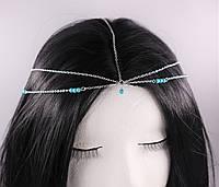 Стильная серебряная цепочка на голову Тика в стиле Бохо №45, фото 1