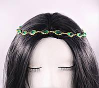 Модная тика (украшение) на голову Изумруд (золото) №40, фото 1