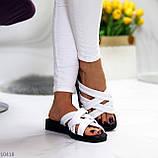 Шльопанці жіночі білі натуральна шкіра, фото 3