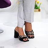 Шльопанці / сабо жіночі чорні на підборах 9,5 см натуральна шкіра, фото 4