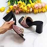 Шльопанці / сабо жіночі чорні-рожеві рум'яна на підборах 9,5 см натуральна замш, фото 5