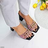 Шльопанці / сабо жіночі чорні-рожеві рум'яна на підборах 9,5 см натуральна замш, фото 6