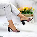 Шльопанці / сабо жіночі чорні-рожеві рум'яна на підборах 9,5 см натуральна замш, фото 8