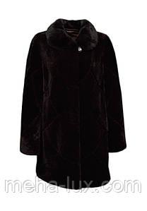 Шуба женская мутон с норкой темно-коричневая