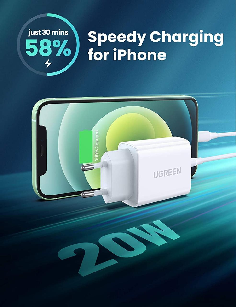 Зарядное устройство Ugreen Qualcomm Quick charge 4.0 Power Delivery 3.0 20W (CD137), фото 2