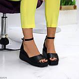 Босоножки женские черные эко кожа на танкетке / платформе 6,5 см, фото 5
