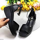 Босоніжки жіночі чорні еко шкіра на танкетці / платформі 6,5 см, фото 7