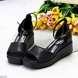 Босоножки женские черные эко кожа на танкетке / платформе 6,5 см, фото 2