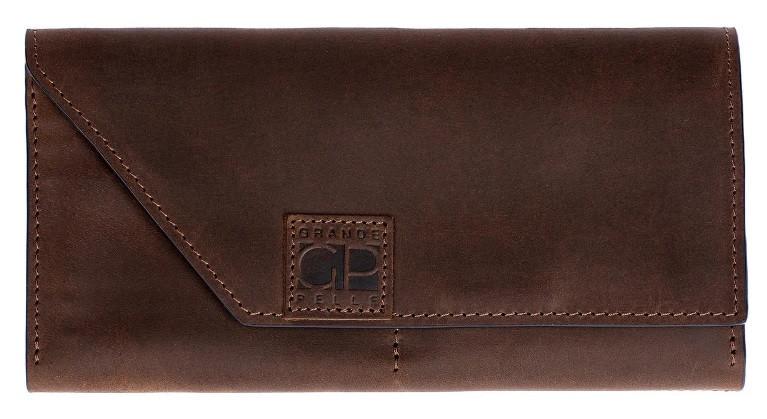 Чоловіче шкіряне портмоне Grande Pelle, чорний гаманець для купюр, карт і монет, матове покриття