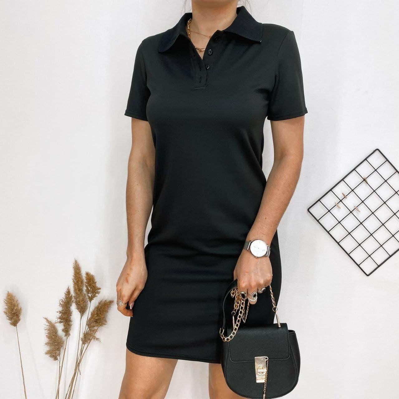 Пряме плаття поло з короткими рукавами у спортивному стилі і рубашечным коміром (р. 42-48) 84032666