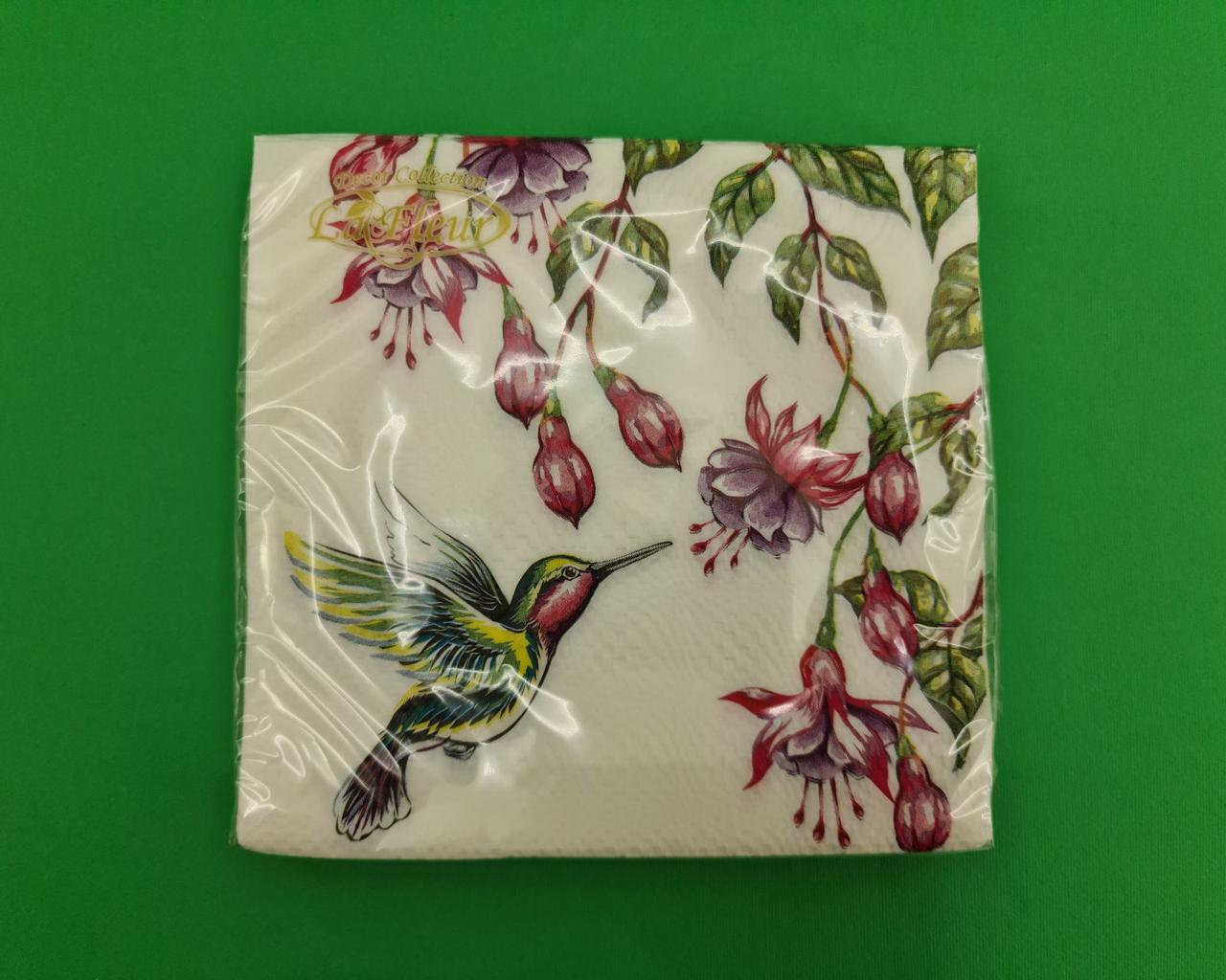 Салфетка декор (ЗЗхЗЗ, 20шт)  La Fleur Колибри (1 пач)