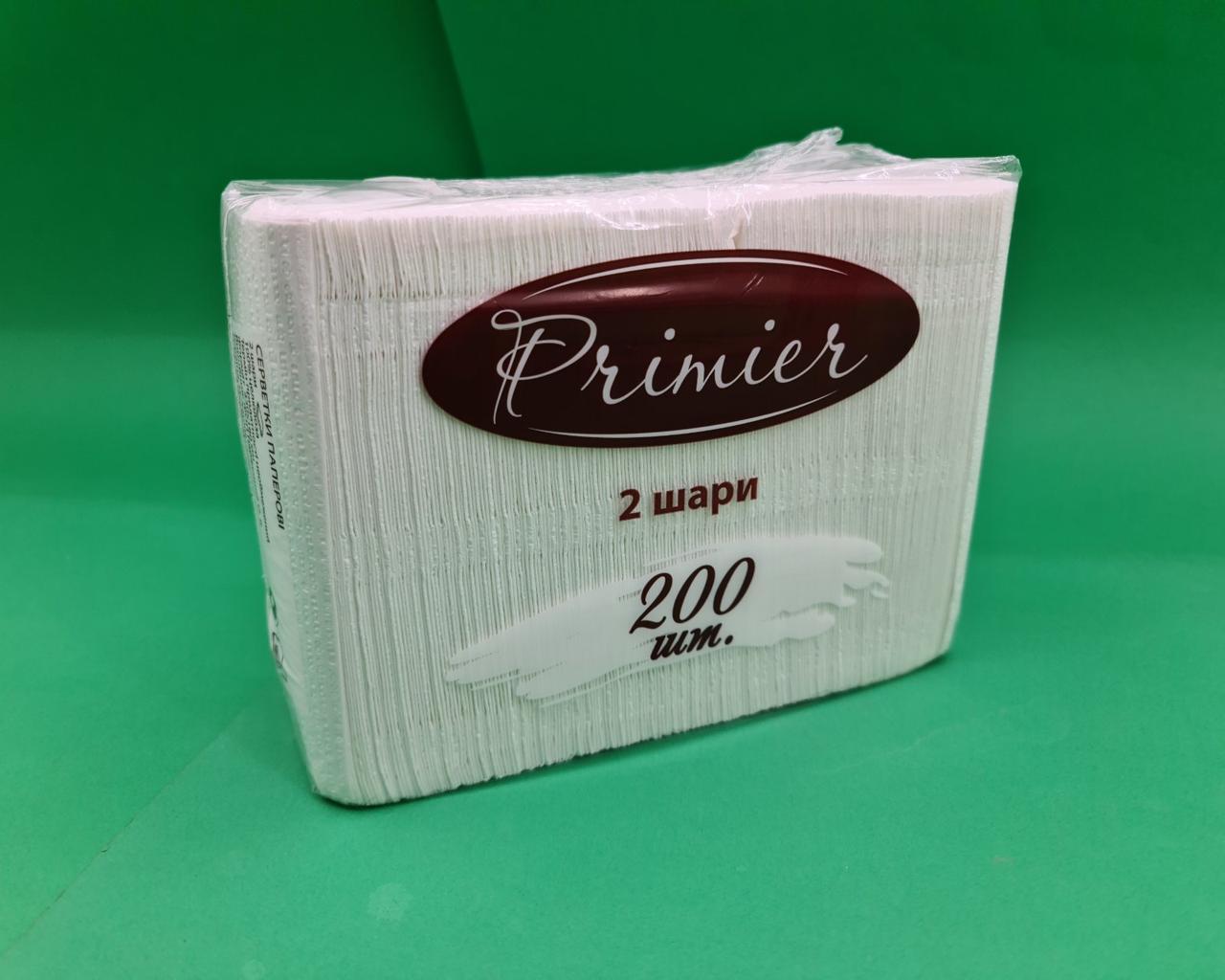 Серветка паперова 200лист Прем'єр Біла 33х18 (1 пач.)