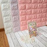 Самоклеющиеся 3Д панели, декоративные стеновые панели 7 мм, Розовый кирпич, фото 3