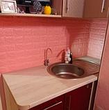 Самоклеющиеся 3Д панели, декоративные стеновые панели 7 мм, Розовый кирпич, фото 4