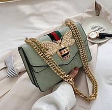 Жіноча міні сумочка клатч бджола біла, чорна, рожева маленька сумка клатч жіночий на ланцюжку