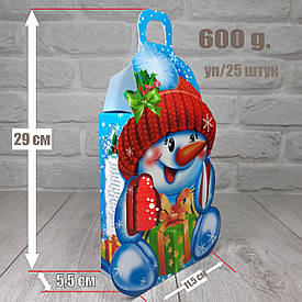 "Новогодняя коробка для конфет 600 грамм ""Снеговик рукавичка"" уп/25 штук"